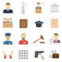 Set di icone piane di giustizia vettore