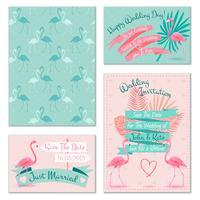 Carte di invito a nozze Flamingo