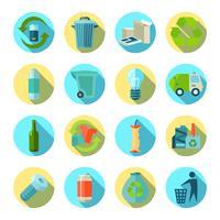 Set di icone rotonde di smistamento dei rifiuti