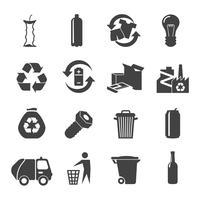 Set di icone di materiali riciclabili vettore