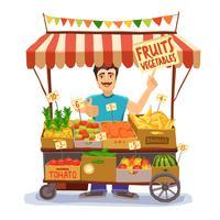 Illustrazione del venditore ambulante vettore