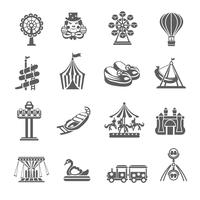 Set di icone del parco di divertimenti vettore