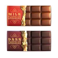 Set di barrette di cioccolato vettore
