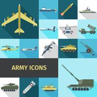 Icone dell'esercito piatte