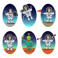 Set di emozioni astronauta vettore