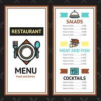 Modello di menu ristorante vettore