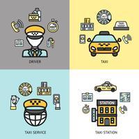 Concetto di design del servizio taxi piatta