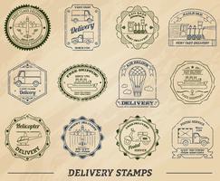 Set di francobolli di consegna vettore