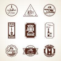 Set di etichette di vino vettore