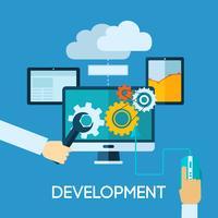 Illustrazione piana di sviluppo di programma vettore