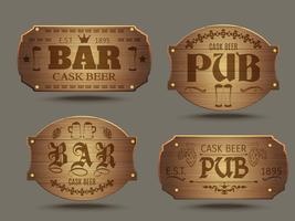 Insieme di segni di bar di pub in legno vettore
