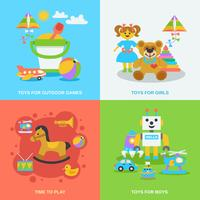 Set di giocattoli piatti vettore