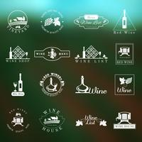 Set di logo del vino vettore