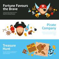 Set di banner piatto concetto pirata