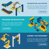 Banner robotici isometrici vettore