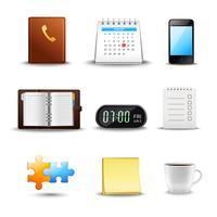 Icone realistiche di gestione del tempo vettore