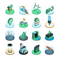 Icone isometriche di energia verde vettore