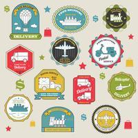 Emblemi di consegna colorati vettore