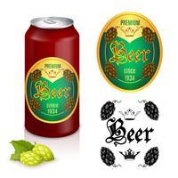 Design di etichette di birra premium vettore