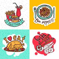 Progettazione della composizione nelle icone di concetto del ristorante vettore