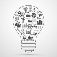 Icona della lampadina di concetto di gestione aziendale squadra