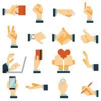 Icone della mano impostate piatte vettore