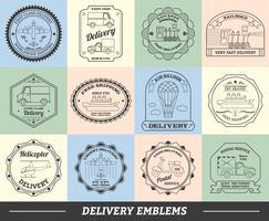 Set di emblemi di consegna vettore