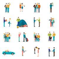 Set di icone di amici vettore