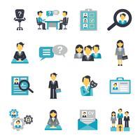 Icone delle risorse umane piatte