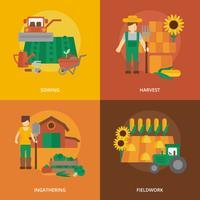 Composizione piana nelle icone della terra dell'agricoltore