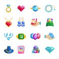 Icone di gioielli preziosi piatte
