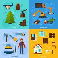 Set di industria della lavorazione del legno vettore