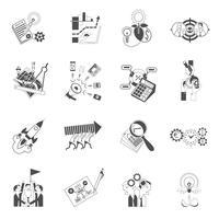 Icone del nero di concetto di lavoro di squadra di affari messe