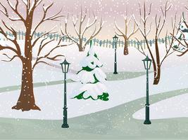 Paesaggio del parco invernale vettore