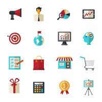 Set di icone piane di marketing vettore