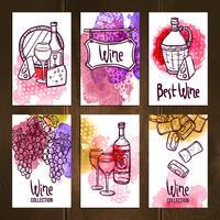 Set di carte del vino vettore