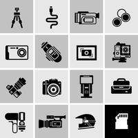 Icone della fotocamera nere vettore