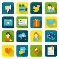 Set di icone sociali piatte vettore