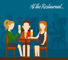 Amici che si incontrano nel ristorante vettore