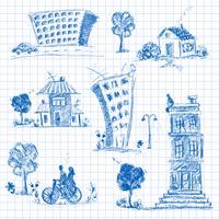 Set di doodle di città