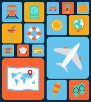Set piatto di icone di viaggio