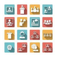 Gente di affari che incontra insieme di icone vettore