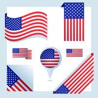 set di bandiera americana vettore