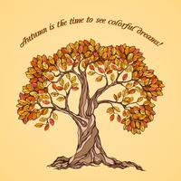 Poster albero d'autunno vettore