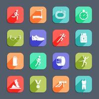 Icone in esecuzione piatte vettore