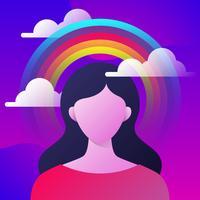 Profilo della donna con la nuvola di tempesta e chiaro cielo
