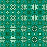 ricamato modello nordico verde e turchese