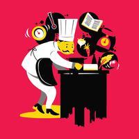 Cuochi che cucinano, tagliano e preparano il piatto successivo vettore