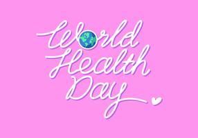 Vettore di giorno di salute mondiale dell'iscrizione della mano