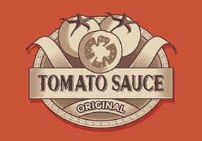 Vettore di etichetta retrò di salsa di pomodoro